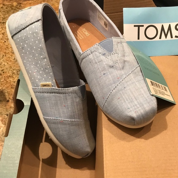 Toms Other - New TOMS light jean colored slip on shoes.